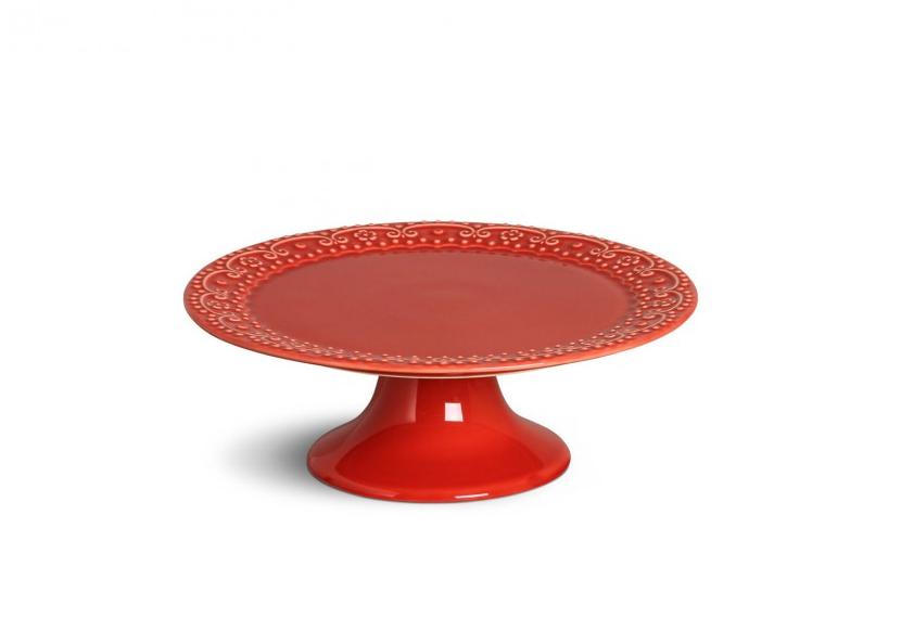 Prato para Bolo Esparta Médio Vermelho 27cm