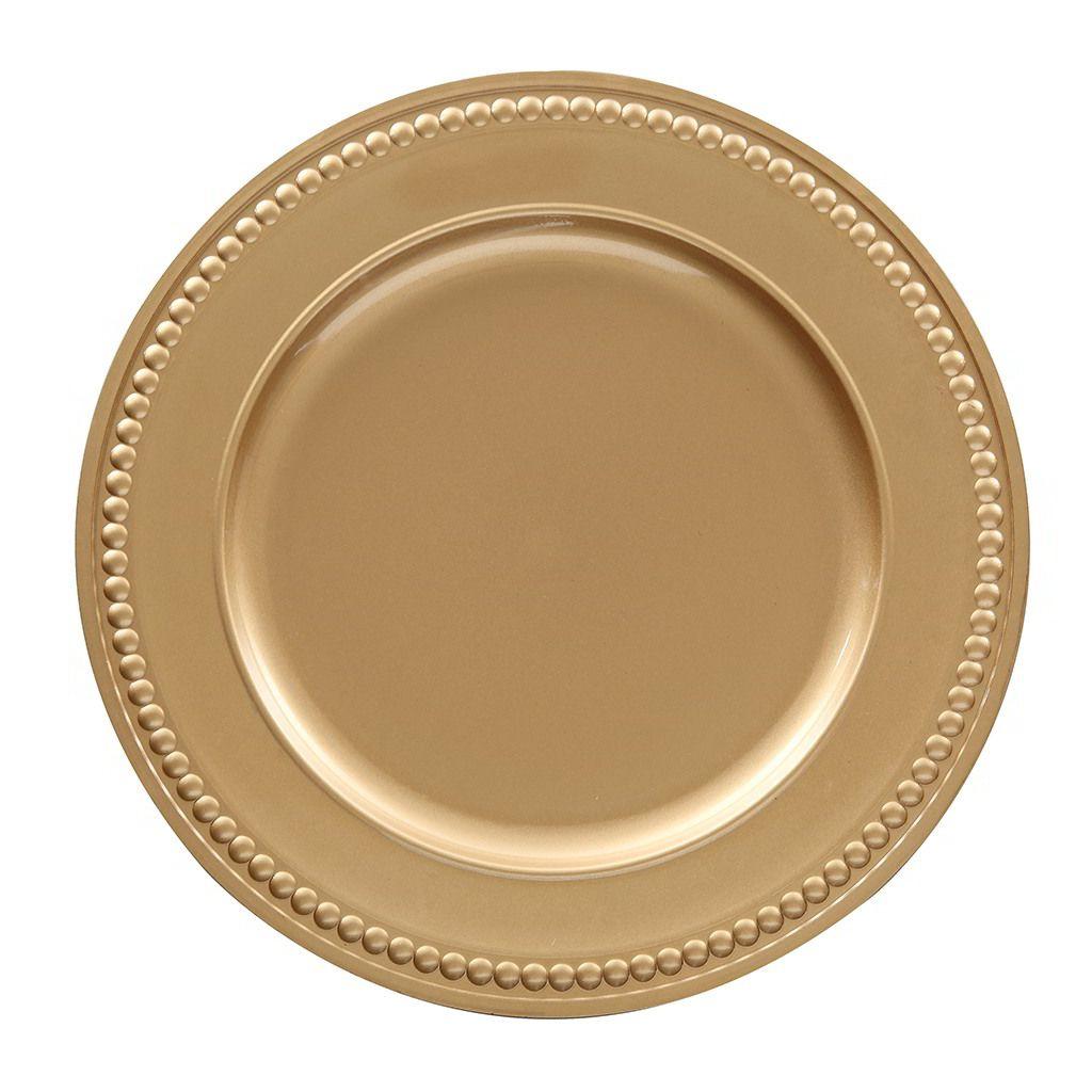 Sousplat Galles Dots 33cm Ouro