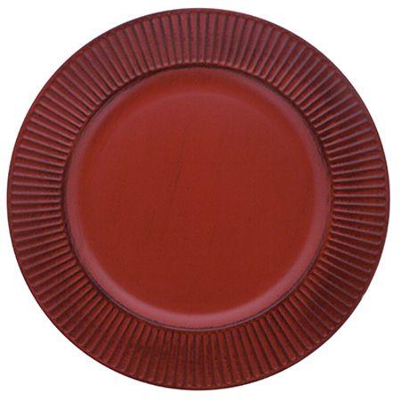 Sousplat Listras 33cm Vermelho