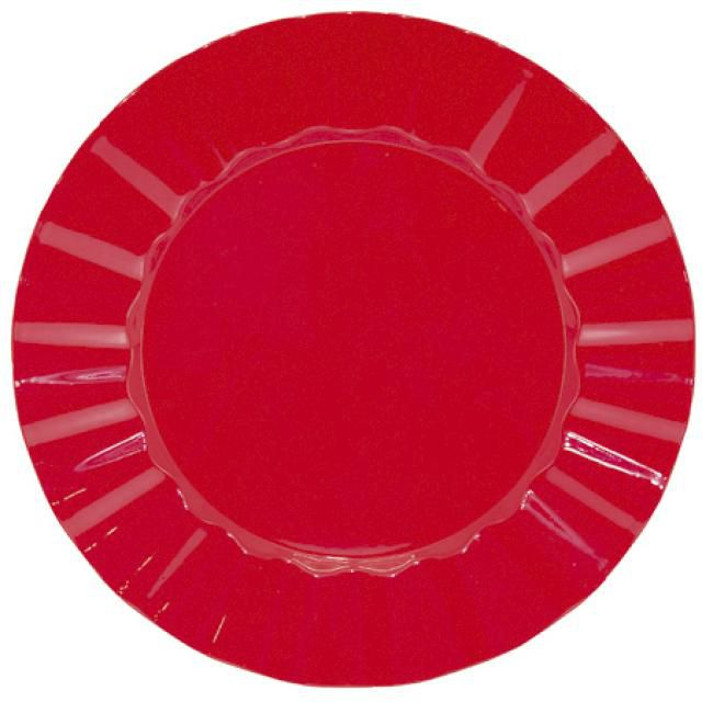 Sousplat Plissado 33cm Vermelho