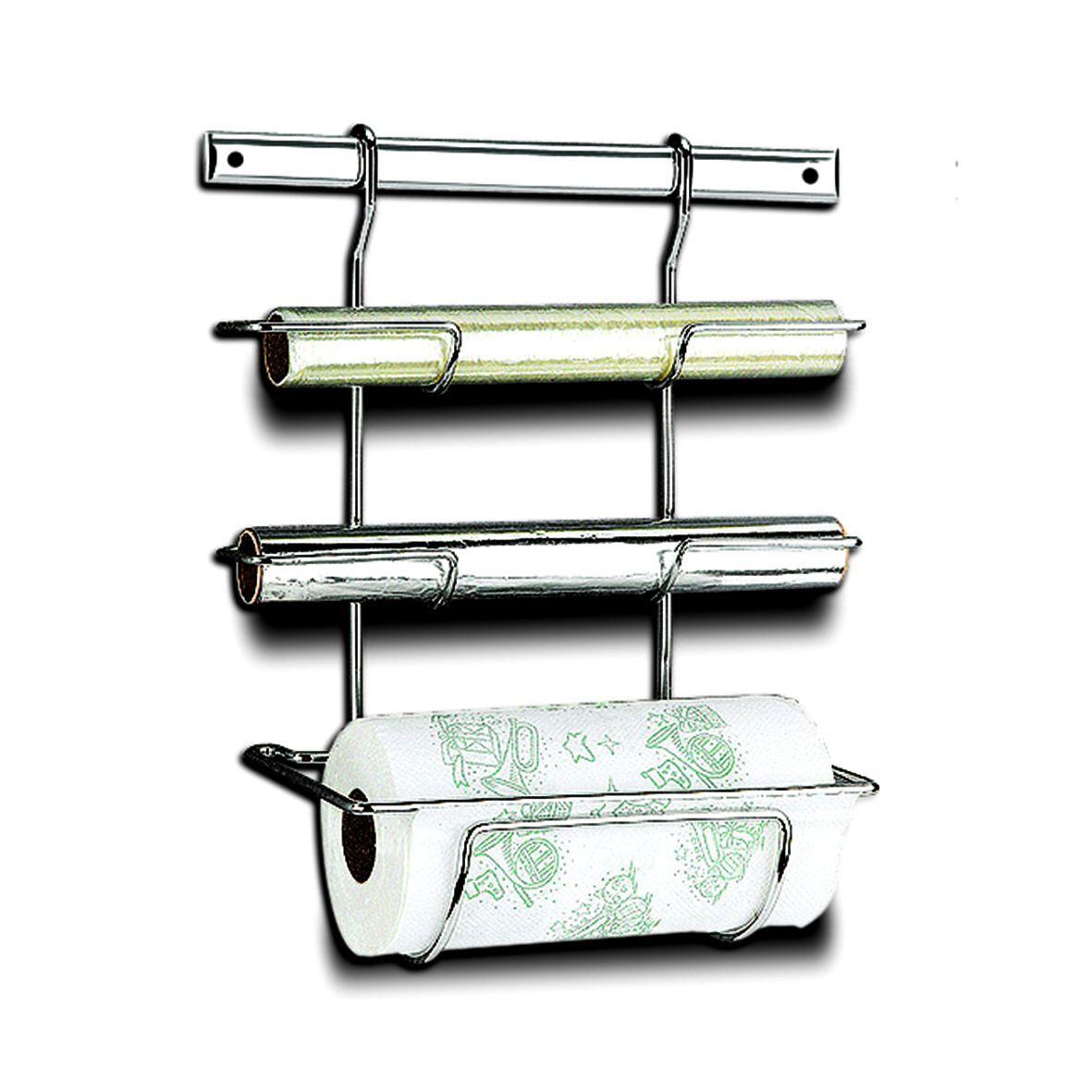 Suporte Cromado para Rolo de Papel Toalha Alumínio e PVC Top Pratic