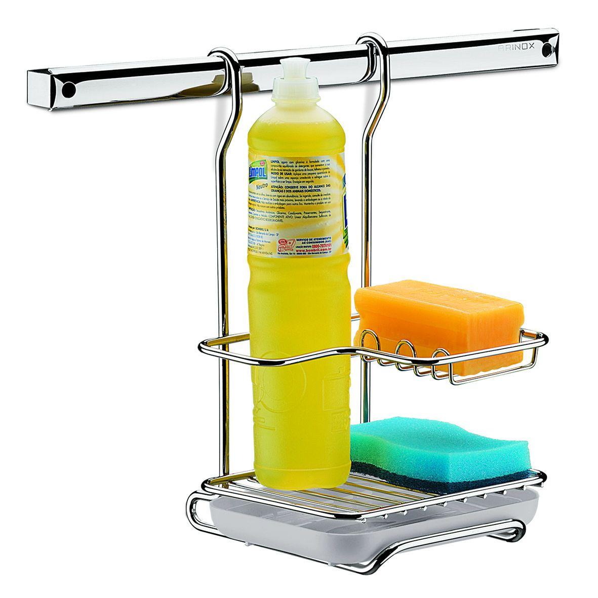Suporte Cromado para Sabão Detergente e Esponja Top Pratic