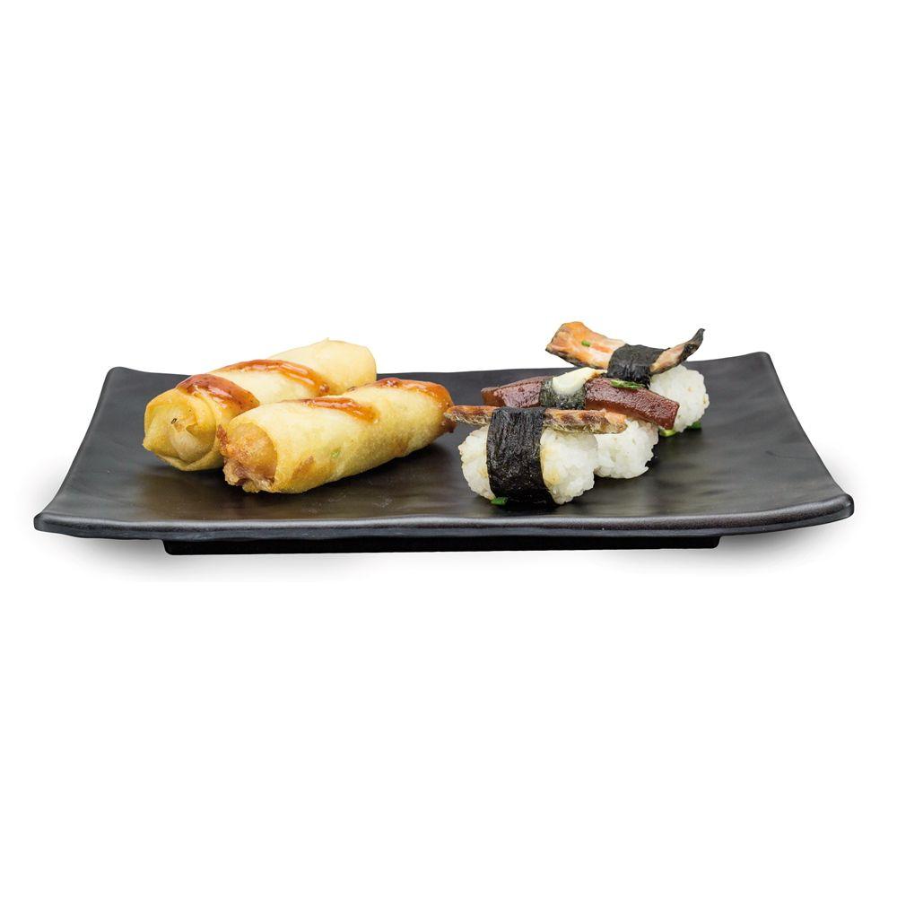 Travessa de Melamina para Sushi e Sashimi Retangular 25x17cm Black