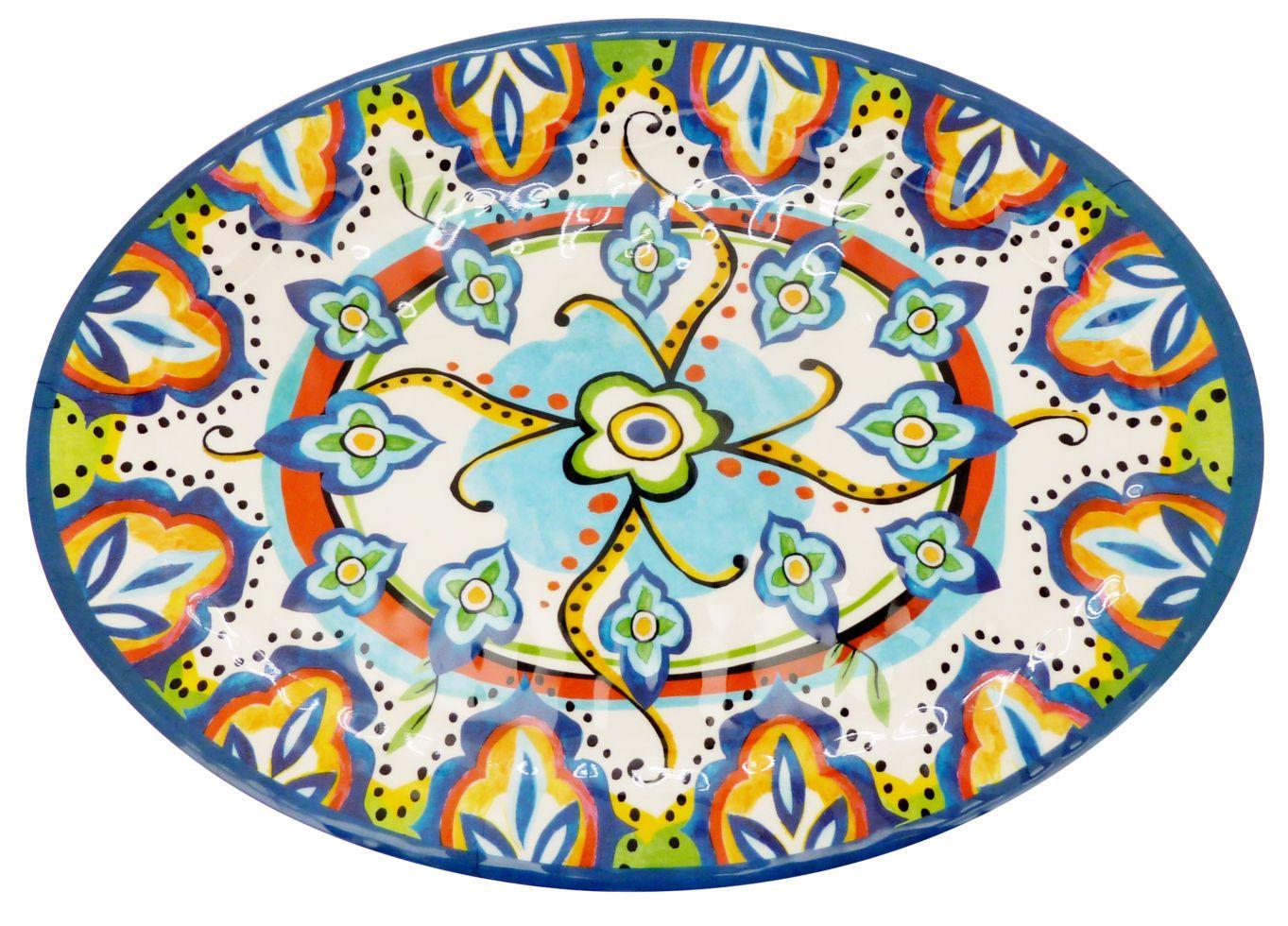 Travessa Oval Rasa Melamina 50x36 cm Etnica