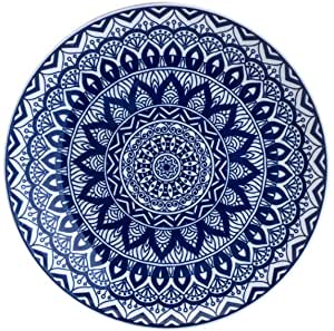 Travessa Redonda 30cm Mandala Azul