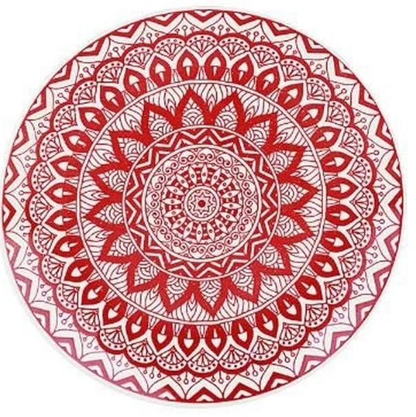 Travessa Redonda 30cm Mandala Vermelha