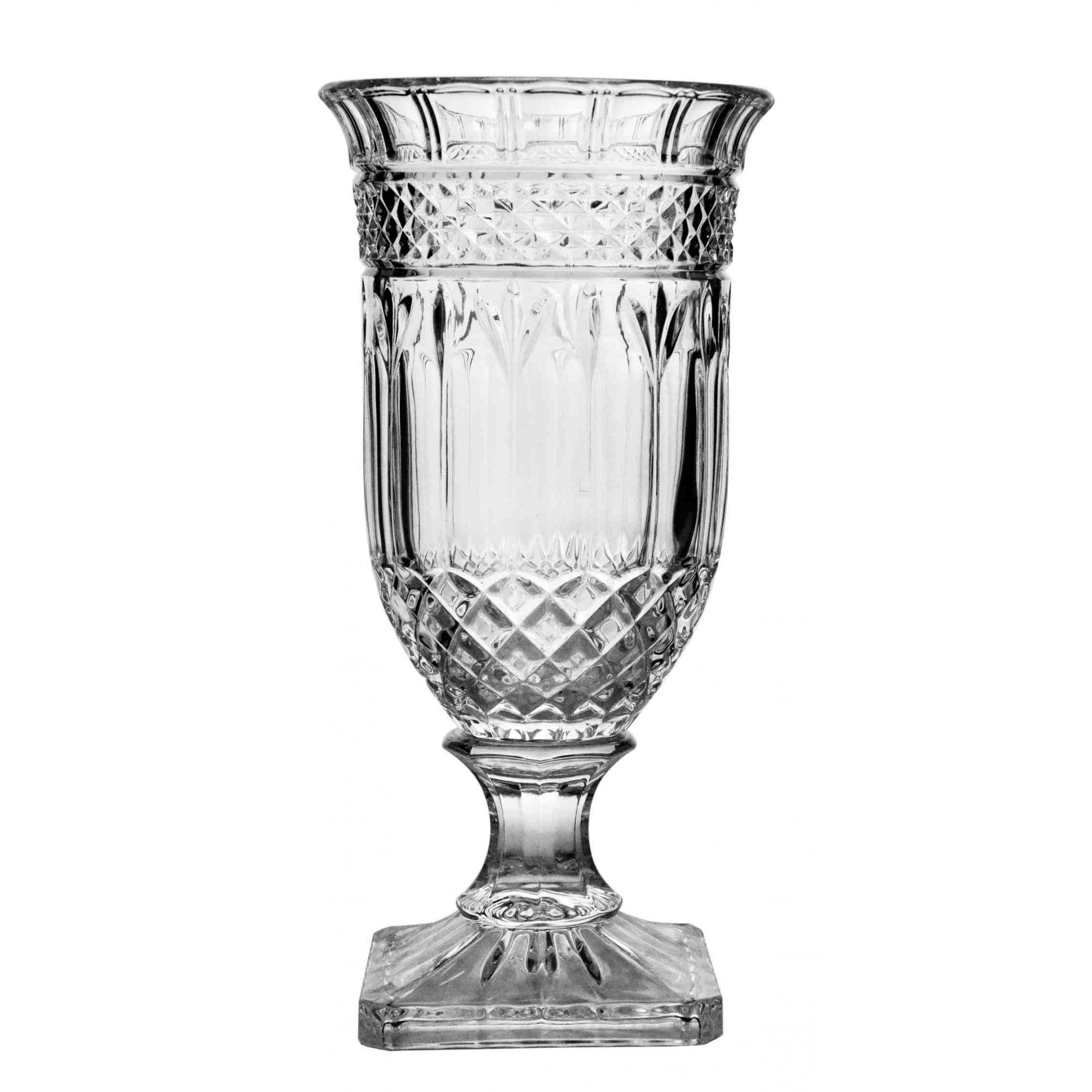 Vaso com Pé 32,5cm Cristal Florence