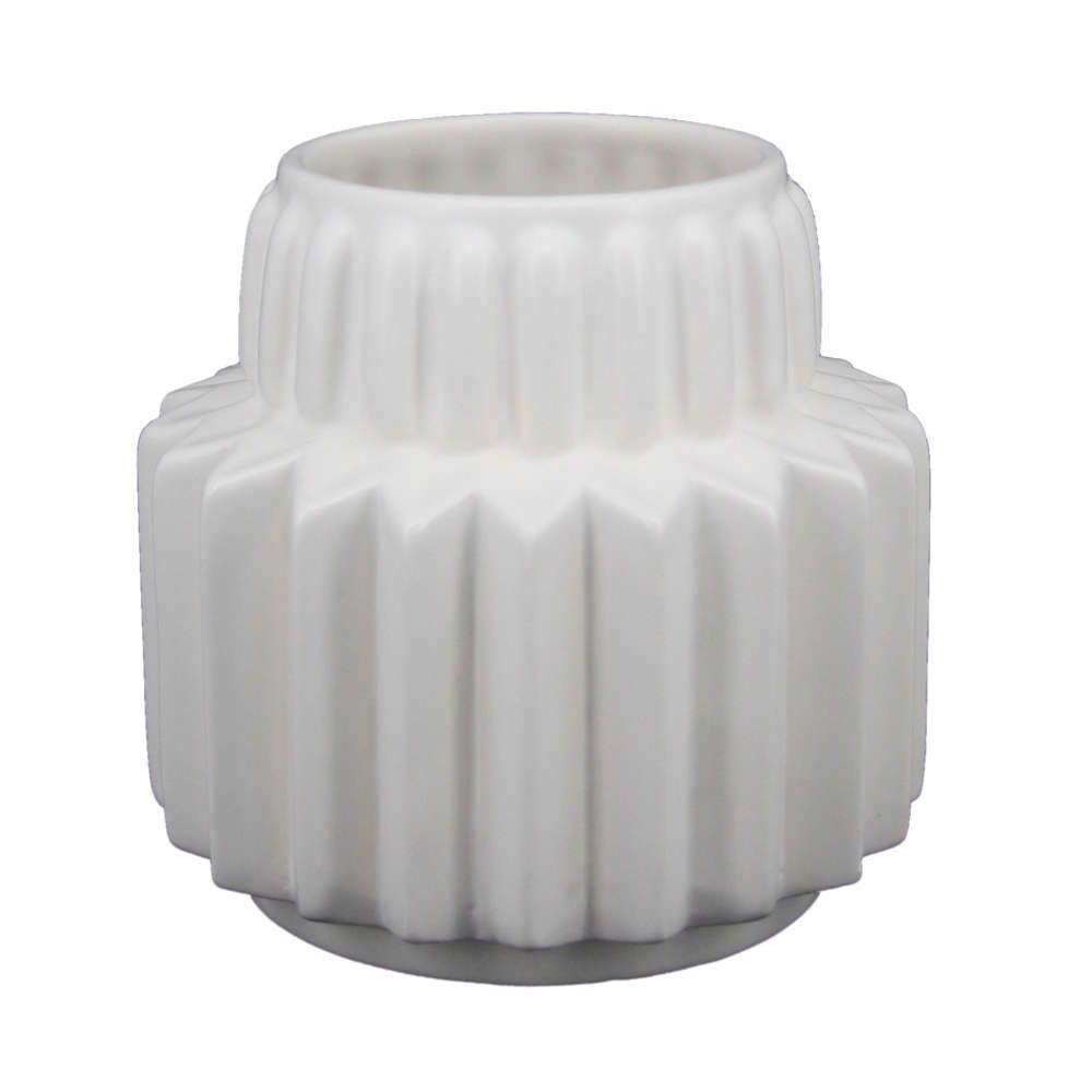 Vaso de Cerâmica Branco com Alto Relevo