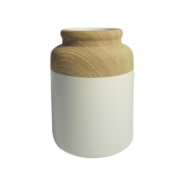 Vaso de Resina Branco e Bege 19cm