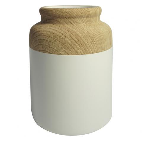 Vaso de Resina Branco e Bege 30cm
