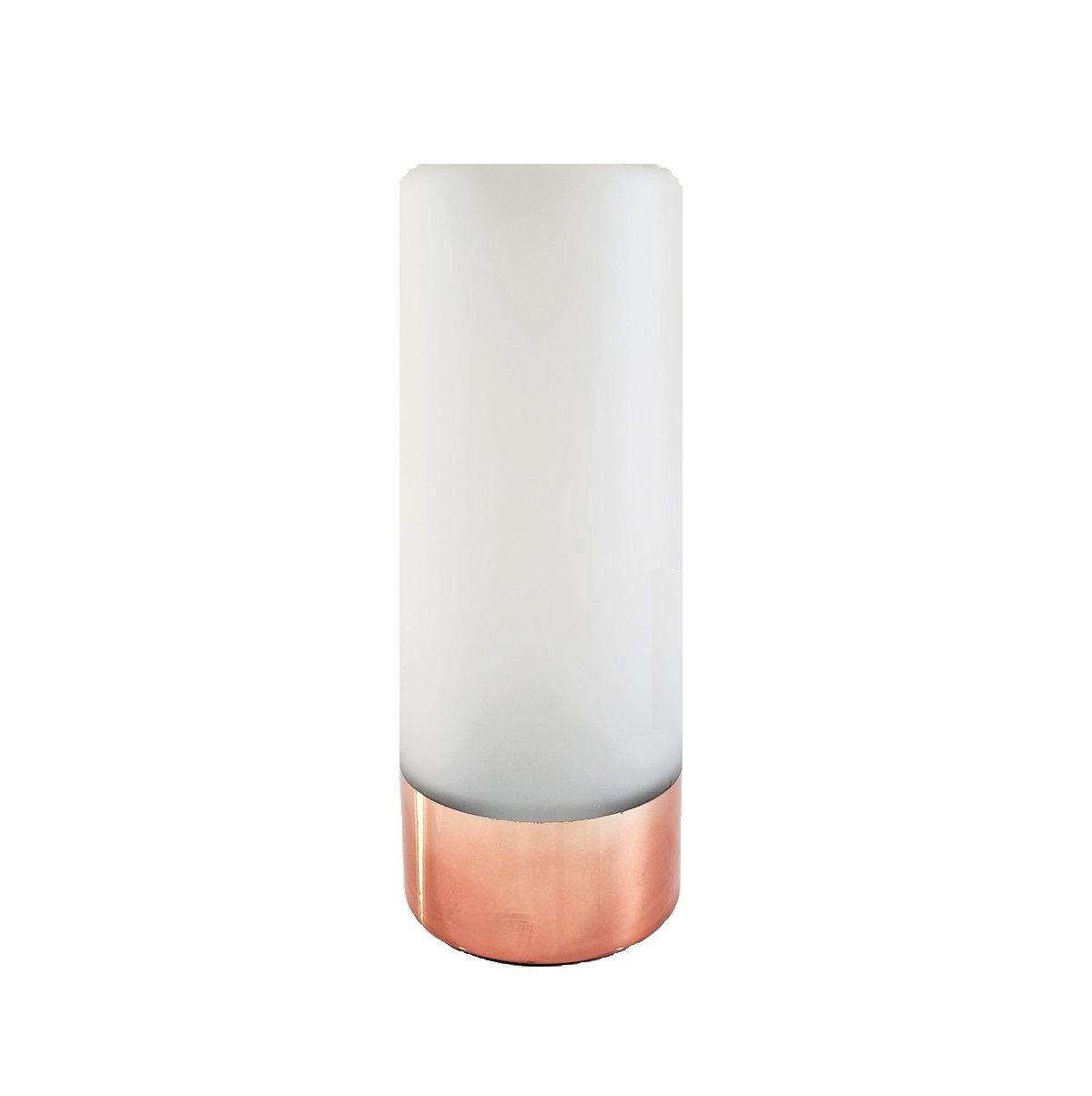 Vaso de Vidro Branco Fosco com Rosé Gold  24cm