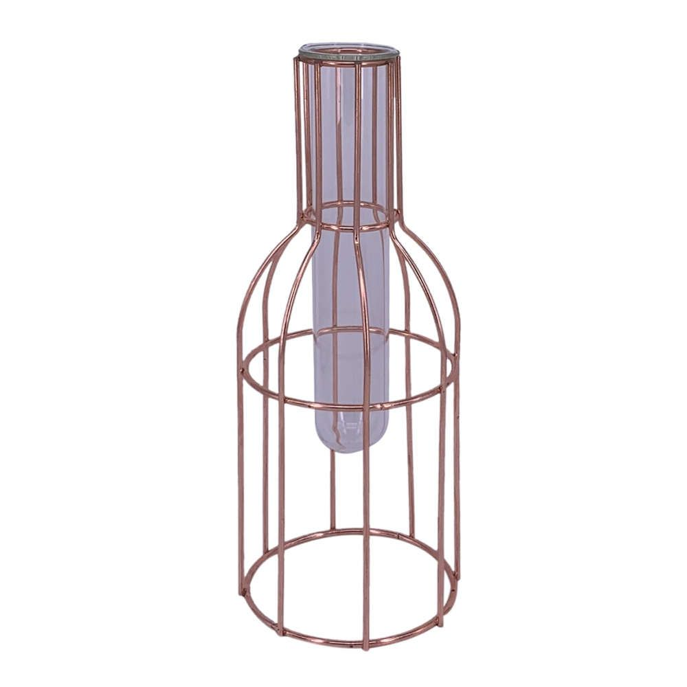 Vaso Tubo de Vidro e Metal Rosé