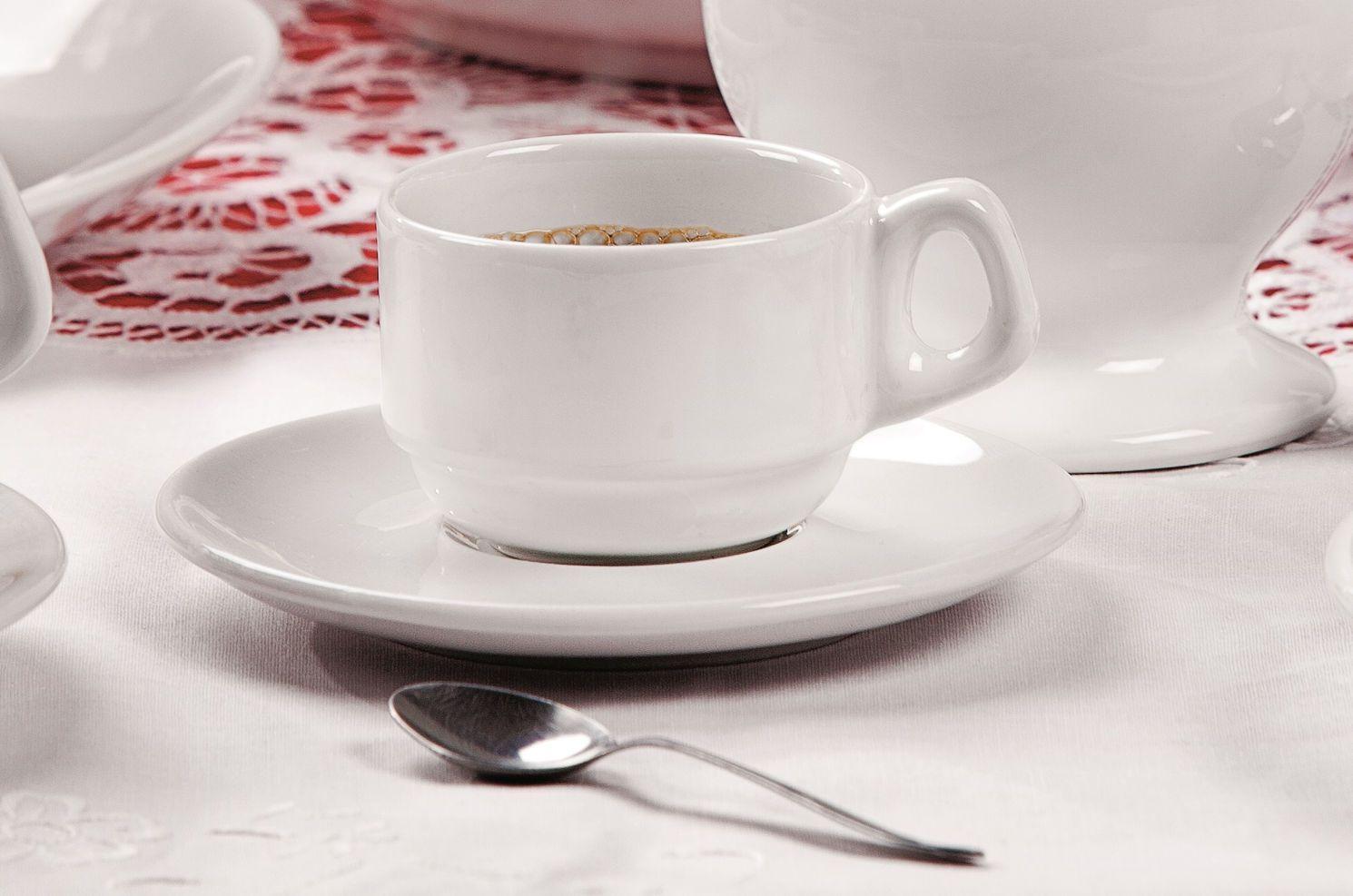 Xícara de Café com Pires 75 ml Empilhável Gourmet Branca