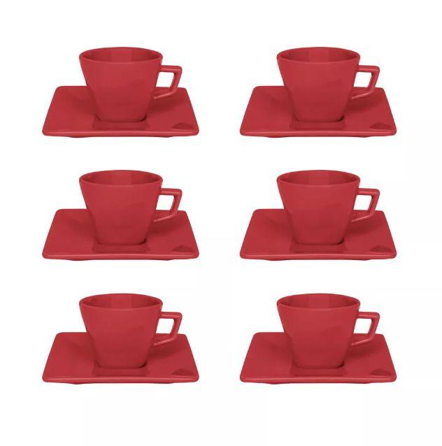 Xícara de Café com Pires 75ml Quartier Red