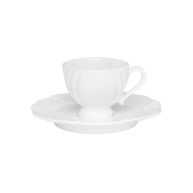 Xícara de Café com Pires 75ml Soleil White