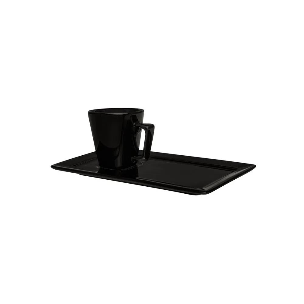 Xícara de Café com Pires Retangular 65ml Plateau Black