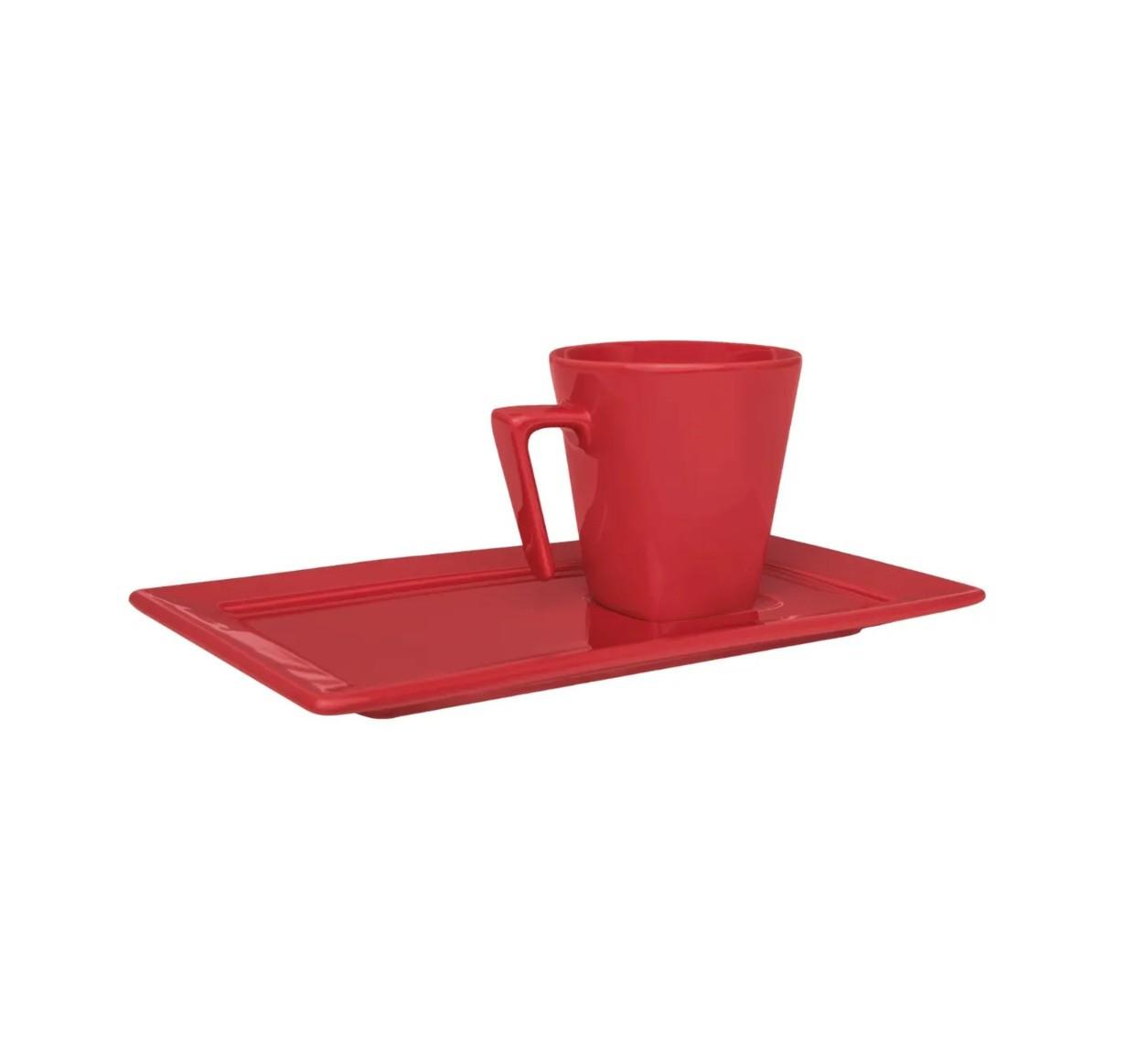 Xícara de Café com Pires Retangular 65ml Plateau Red