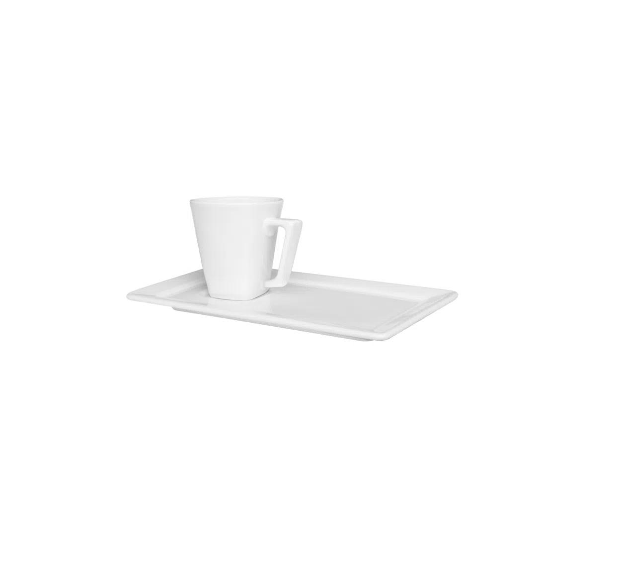 Xicara de Café com Pires Retangular 65ml Plateau White