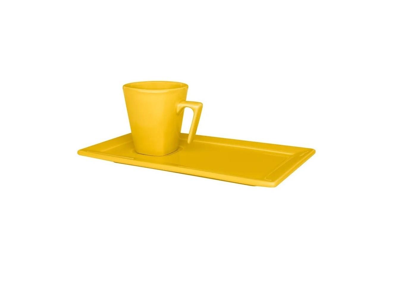 Xícara de Café com Pires Retangular 65ml Plateau Yellow