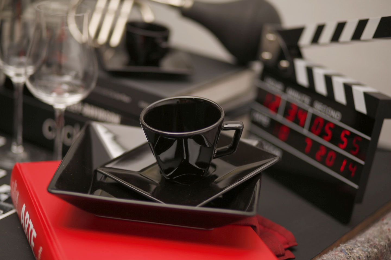 Xícara de Chá com Pires 200 ml Quartier Black