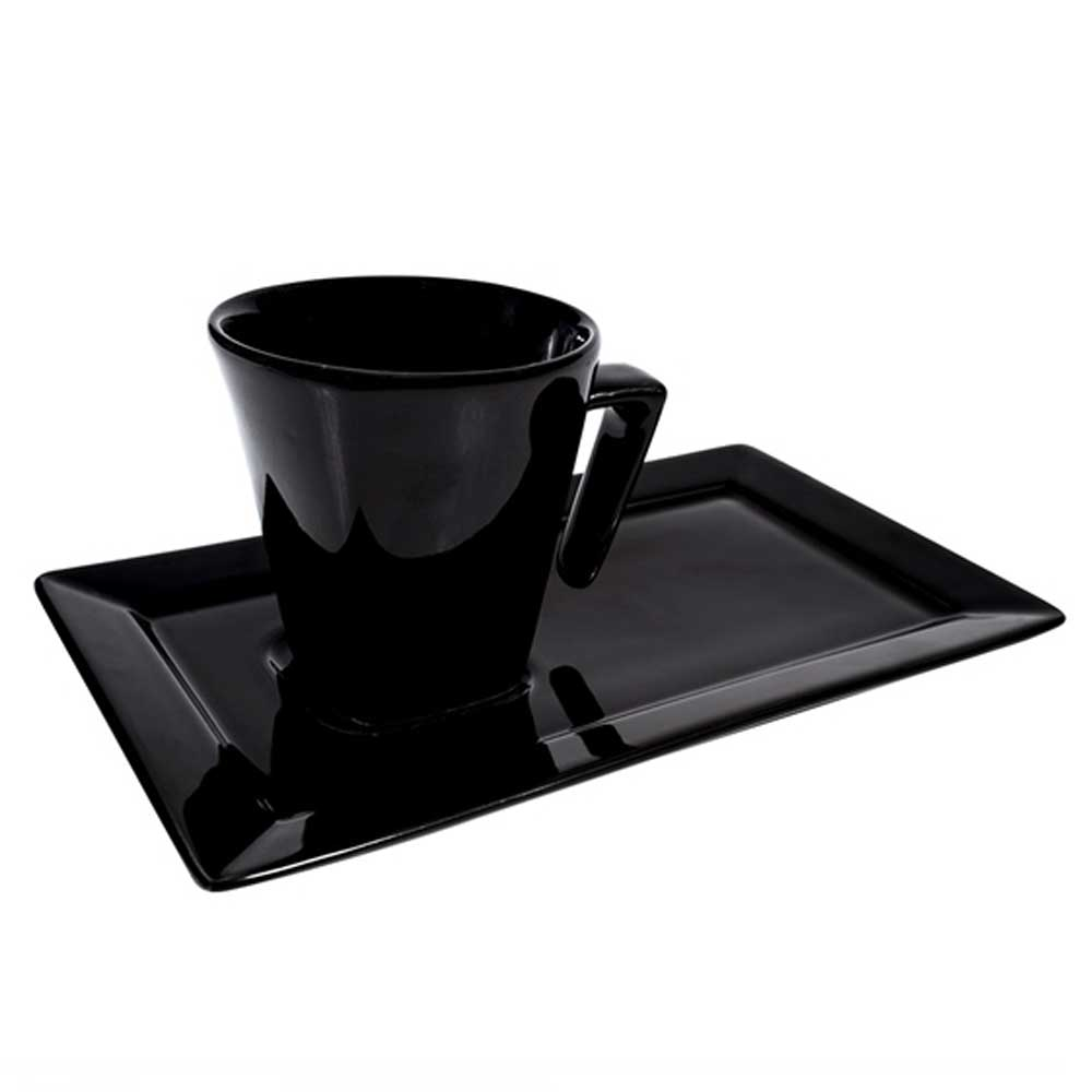 Xícara de Chá com Pires 200ml Retangular Plateau Black