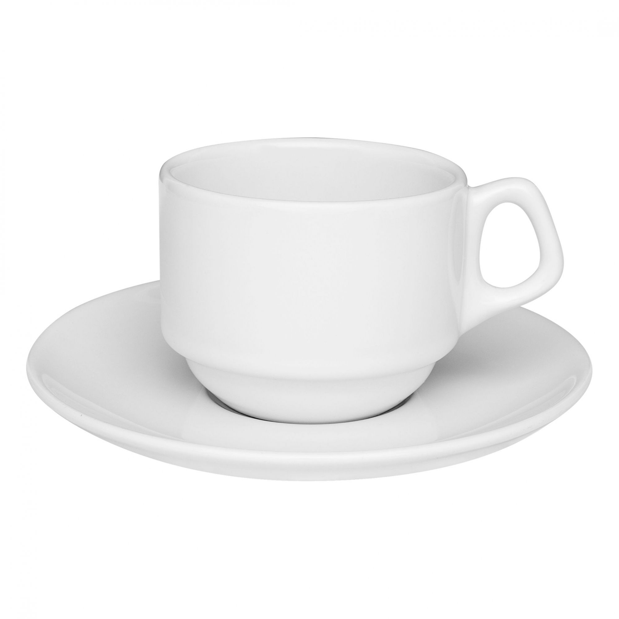 Xícara de Chá com Pires 220 ml Empilhável Gourmet Branca
