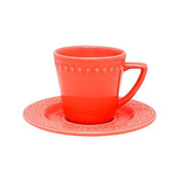 Xícara de Chá com Pires 220ml Mendi Coral
