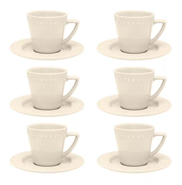 Xícara de Chá com Pires 220ml Mendi Marfim