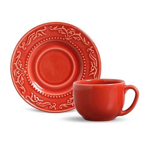Xícara de Chá com Pires Acanthus Vermelho