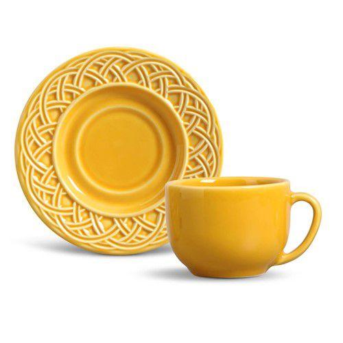 Xícara de Chá com Pires Cestino Mostarda