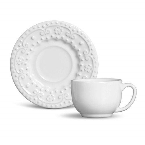 Xícara de Chá com Pires Esparta Branco