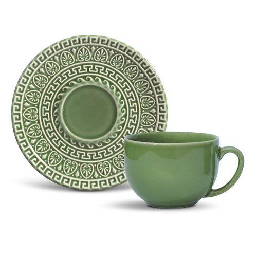 Xícara de Chá com Pires Greek Verde Salvia