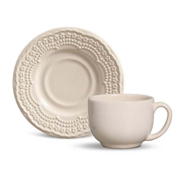 Xícara de Chá com Pires Madeleine Crú