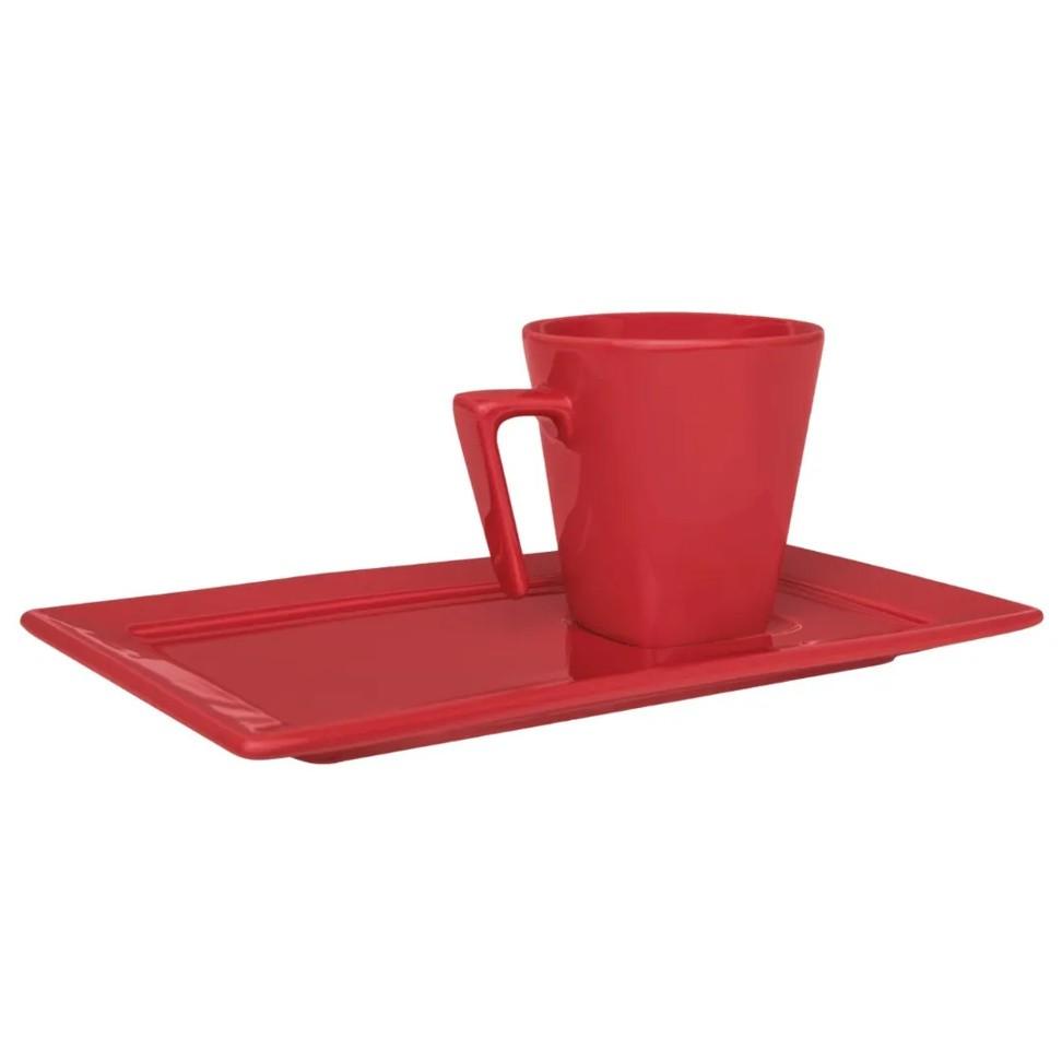 Xícara de Chá com Pires Retangular 200ml Plateau Red