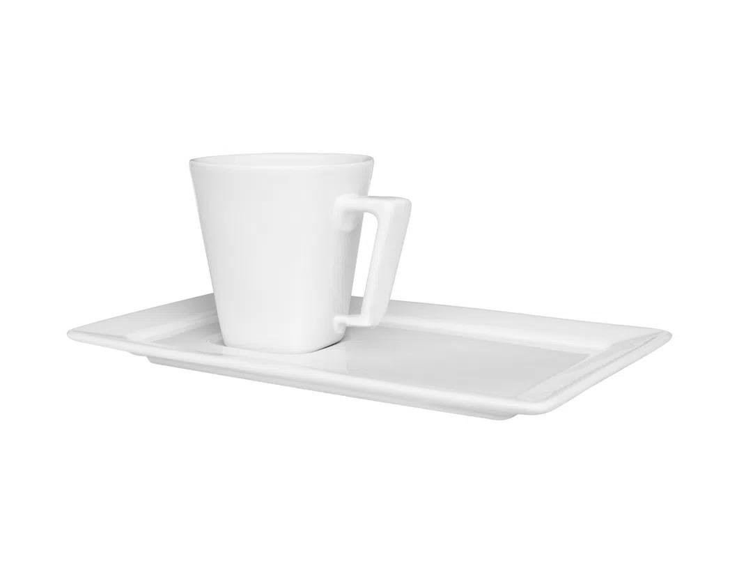 Xicara de Chá com Pires Retangular 200ml Plateau White