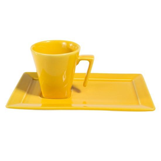 Xícara de Chá com Pires Retangular 200ml Plateau Yellow