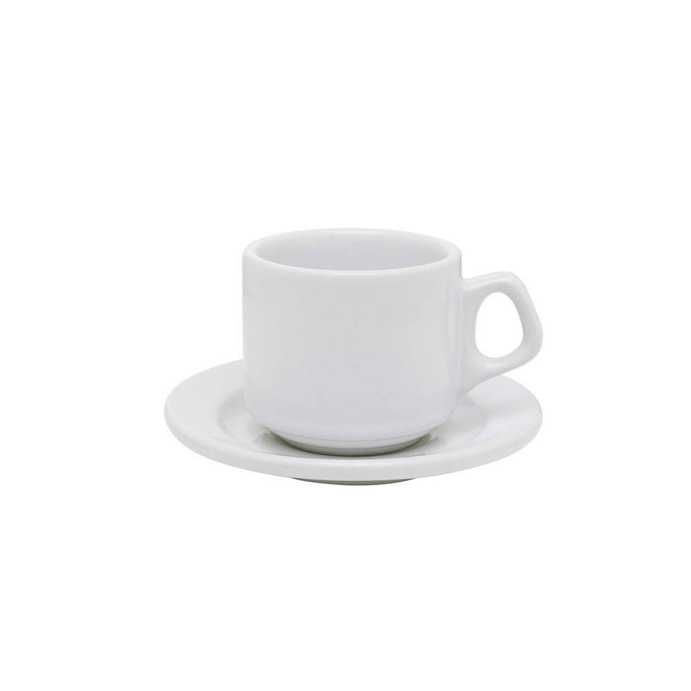 Xícara de Chá com Pires Vitramik Plus 180ml Empilhável Branco