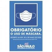 Placa 20 x 30 Uso Obrigatório o Uso de Máscara