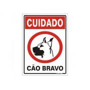 Placa 20x30 Cuidado Cão Bravo