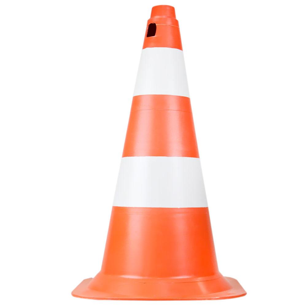 Cone de PVC Rigido 50cm Laranja/Branco