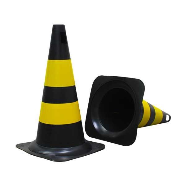 Cone PVC Rigido 50cm Preto/Amarelo