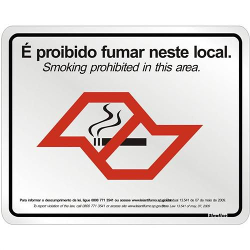 Placa 20x25 Proibido Fumar Lei Estadual
