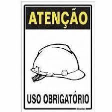 Placa 20x30 Atenção Obrigatorio Uso de Capacete