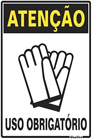 Placa 20x30 Atenção Obrigatorio Uso de Luva