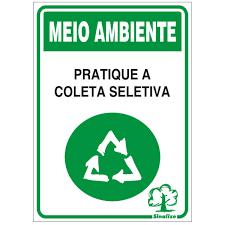 Placa 20x30 Coleta Seletiva