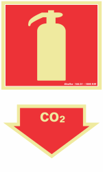 Placa 20x30 Fotoluminescente Extintor CO2