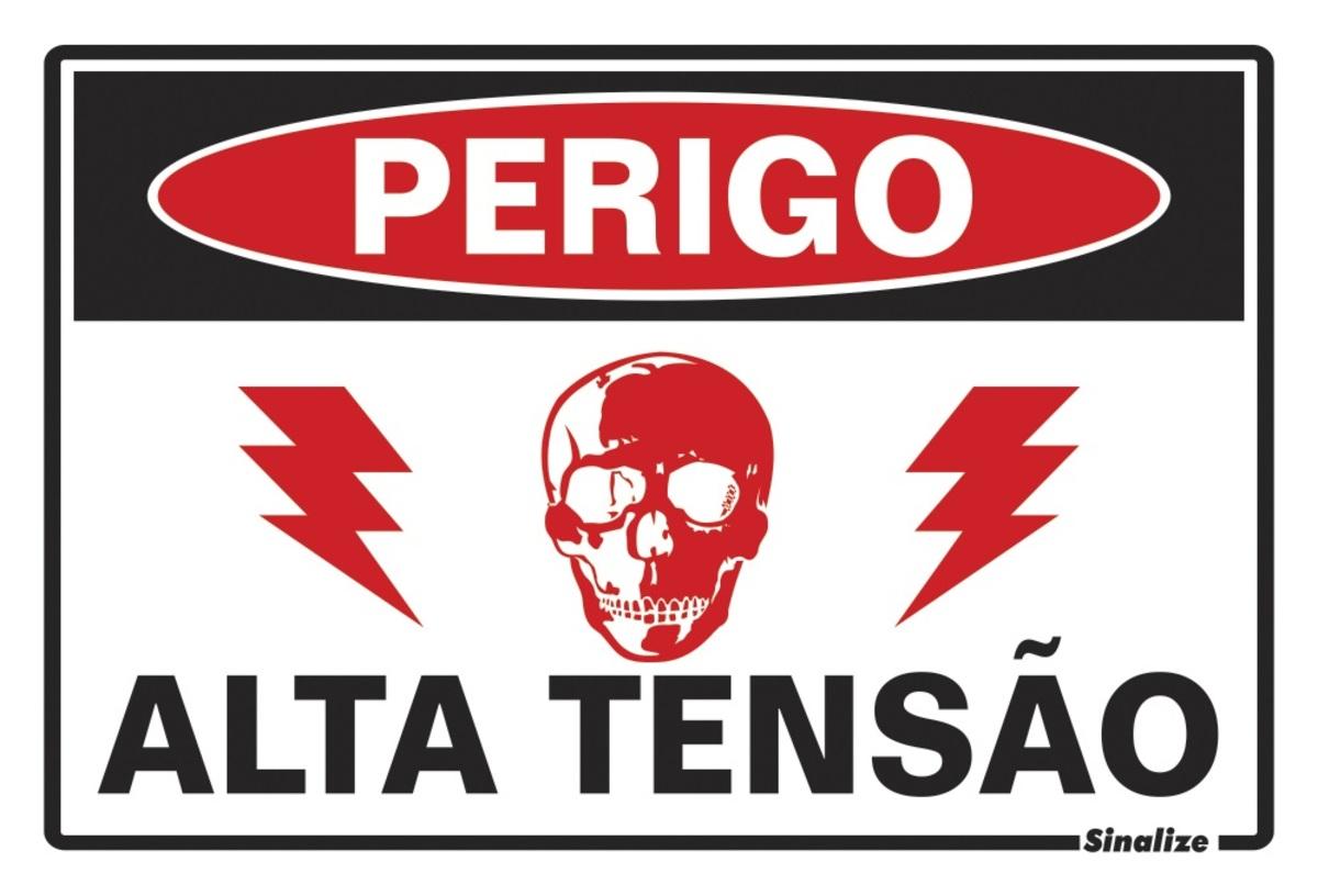 Placa 20x30 Perigo Alta Tensão