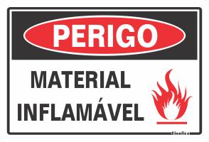 Placa 20x30 Perigo Material Inflamavel