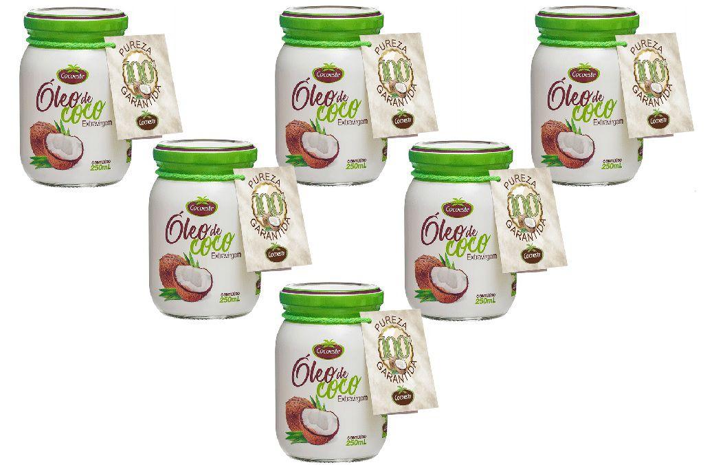 Kit 6 unidades óleo de coco extravirgem 250 mL - Cocoeste
