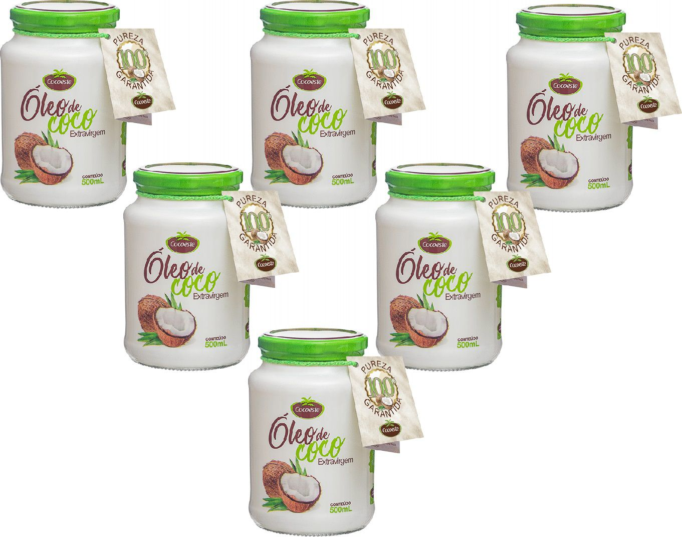 Kit 6 unidades óleo de coco extravirgem 500 mL - Cocoeste